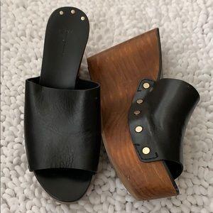 Black Zara leather wedge